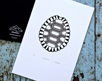 Tortoise Shell / Testudines 'specimen' (noir) - Limited edition one-colour screenprint
