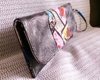 Black Embossed Pleather and Loteria Clutch