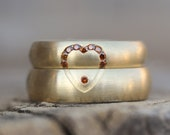Luxurious Wedding Band Set 18K Yellow Gold Diamond Cognac Rust Heart Modern Warm Romantic Matching Rings Bridal Set Hers and His - Love Glow