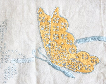 Embroidered Linen, Dresser Sash, Rustic Butterflies, Vintage Fabric For Projects or Decor, Pastel Colors, Spring Decor