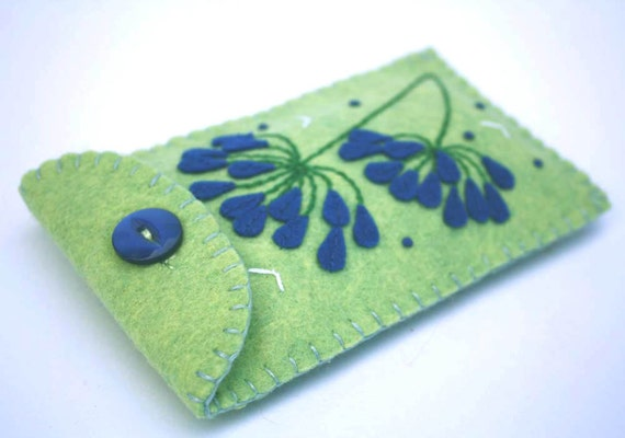 Handmade phone case, i pod cover, green felt iPhone case, phone sleeve, blue agapanthus flowers