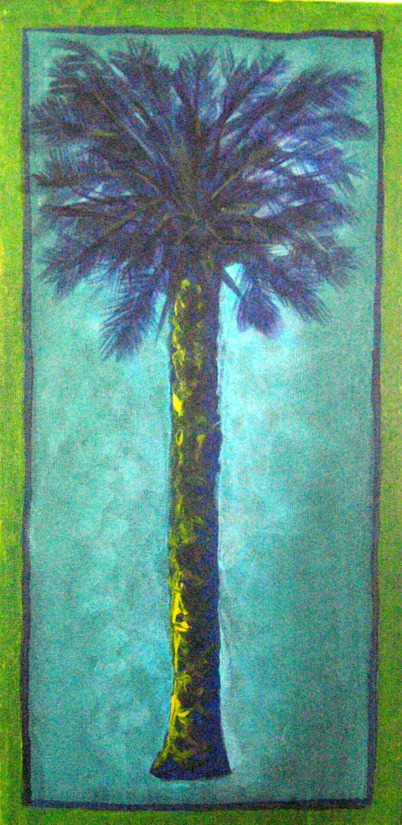 Tall palms nice size original acrylic paintings by for Nice acrylic paintings