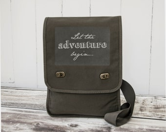 Let the adventure begin... - Messenger Bag - Field Bag - School Bag - Khaki Green - Canvas Bag