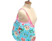 Large Floral Quilted Bag Purse Tote Shabby Chic Blue Pink polka dot