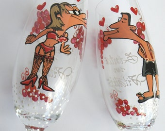 Hand painted Wedding Toasting Flutes Set of 2 Personalized Champagne glasses I'm your darling