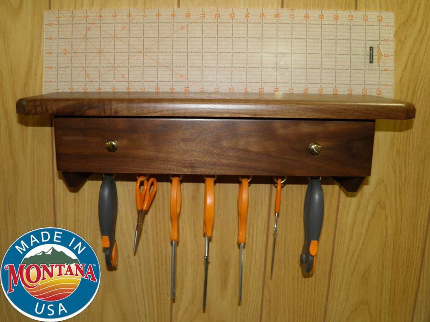 Quilting Ruler Holder Wall Mounted 14 Slots Solid Walnut
