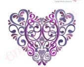 Vintage Floral Ornate Heart Embroidery Design - Small- Instant Email Delivery Download Machine embroidery design