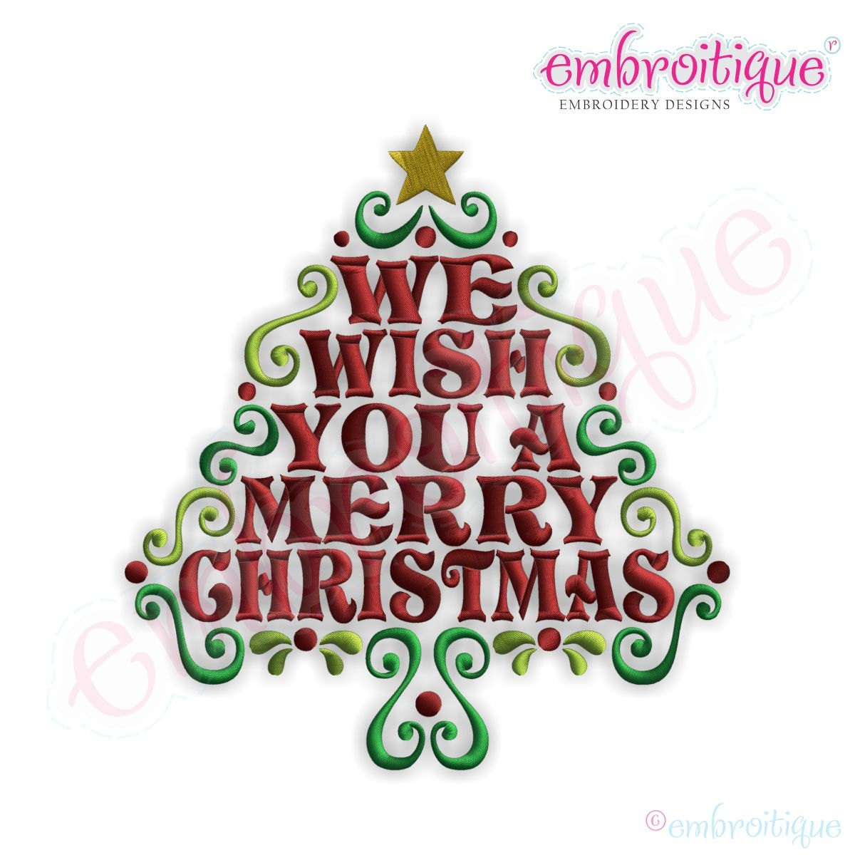 Christmas Tree Merry Christmas: We Wish You A Merry Christmas Word Tree Embroidery Design