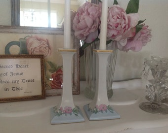 Porcelain Candle Holders Bavaria ~  Pale Blue with Pink Flowers ~  Romantic Homes ~ Vintage Collectibles ~ Unique Gift for Mom, Aunt, Sister