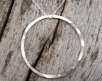 Large Karma Necklace, hand-forged sterling silver karma circle, hammered texture, RDDLKN