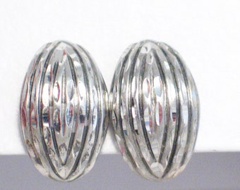 sterling silver earrings ribbed dome sterling silver clip on diamond cut button dome shape womens fine jewelry