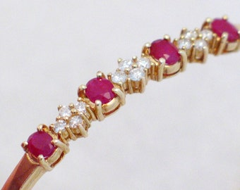 Vintage 14K yellow gold Red Ruby and Diamond cuff / bangle bracelet