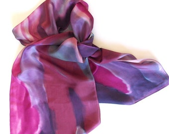 SilkScarf,Handpainted,Purple,Grape Festival,Or Table Runner, 15x72 inches