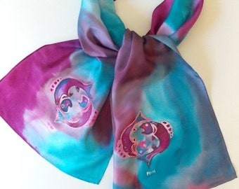 SilkScarves,Pisces, Mauve,Aquamarine,Purple,,Zodiac,or Table Runner,Handmade,14x72 inches