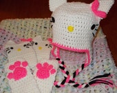 Do you Love Hello Kitty?  Hat, fingerless mitts and boot cuffs complete set  FREE SHIPPING
