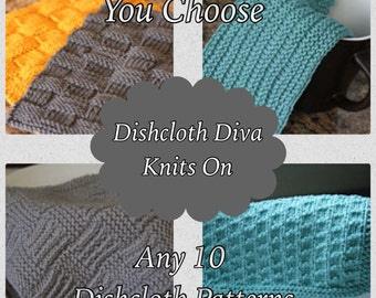 KNITTING PATTERN-Choose Any 10, Dishcloth Pattern