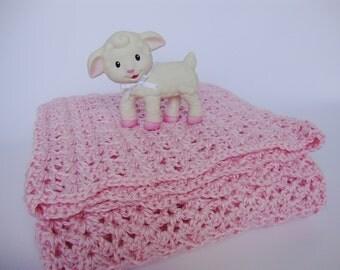 Pink Baby Blanket, Baby Gift, Acrylic Baby Blanket, Crochet Baby Blanket, Baby Girl Gift, Crib Size Blanket