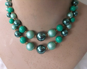 Vintage Choker Necklace Double Two Strand Green Plastic Beads Gold Tone Retro Stamped Japan Costume Jewelry