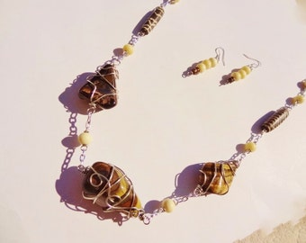 Tiger Eye Necklace and Earring Set Authentic Wire Wrapped Polished Stones