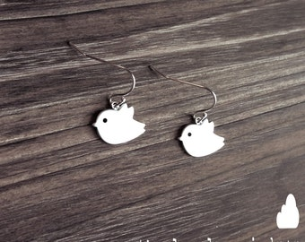 Bird Earrings on Sterling Silver Ear Hooks - Dangle Earrings - Make Perfect Gift - morganprather