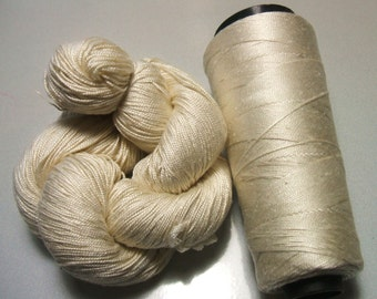 100% Pure Mulberry Queen Silk Yarn 50 gram 3-Ply Lace Weight Pearl White Lot M - Cone or Skein