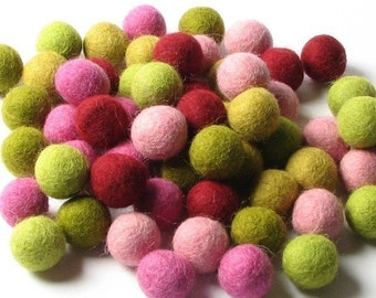 60 Hand-felted Wool Felt Balls 2 CM Mod Pink Olive Wine Handbehg Felts Fiber Crafts