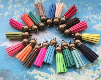 New  100pcs 40mm Antiqued bronze Cap--assorted Suede Leather Ear Tassel charms