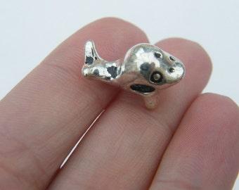 5 Whale bead charm 18 x 13mm antique silver tone - fits European charm bracelet C37