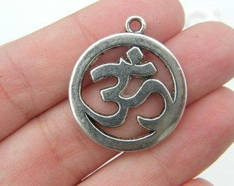 4 OM charms antique silver tone I18