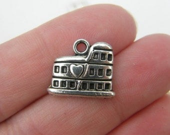 BULK 50 Colosseum charms antique silver tone WT46