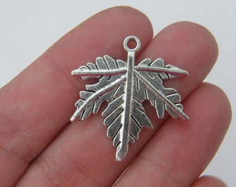 BULK 30 Leaf charms antique silver tone L32