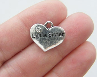 4 Little sister charms antique silver tone M412