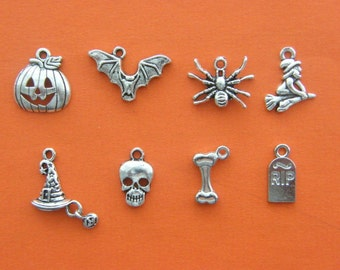 The Halloween Charms Collection - 8 different antique silver tone charms
