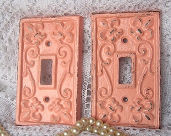 Rustic Switchplate in Vintage Rose Pink / light switch cover / fleur de lis / cast iron /  shabby chic / cottage chic