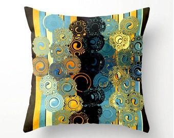 Tangerine Blue and Black Swirly pillow, accent cushion, colorful throw pillow, pillow cover, cushion cover, scatter cushion, home decor