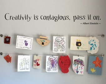 Creativity is Contagious Wall Decal - Children Artwork Display Decal - Albert Einstein Quote - Artist Quote