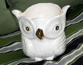 Vintage Owl Planter White Gold Gilding