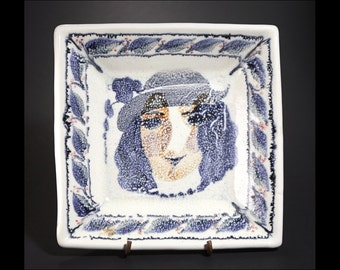 Majolica Ceramic  Plate -  Woman in Blue - Handmade and Hand Painted by Boris Vitlin