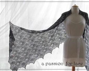BRAE (PDF) A luscious shawl in black lace