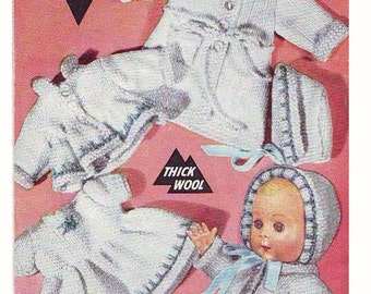 Doll KNITTING PATTERN - Complete Layette dolls clothing 10 inch doll