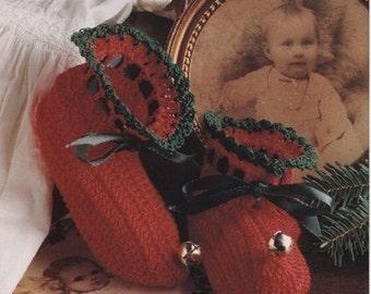 Baby Crochet PATTERN - Jingle Bells Booties Bootees heirloom Thread Crochet  0 - 3 months