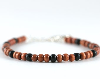Black and brown wood bead bracelet, silver spring clasp