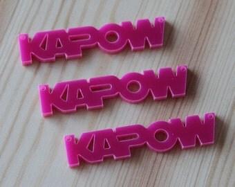 3 x Laser cut acrylic Kapow pendants
