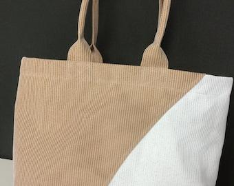 Tote Bag, Mesh Tote, Tan & White Tote, Grocery Bag, Beach Bag, Shopping Bag, Mesh bag, Pocket Tote Bag, Medium tote bag, Medium shopping bag