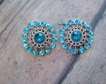 Set of 2 Turquoise Rhinestone Pinwheel Buttons Free Shipping With 6 Or More Items