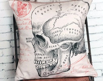 Halloween Pillow Cover Vintage Skull Illustration Cotton and Burlap Pillow