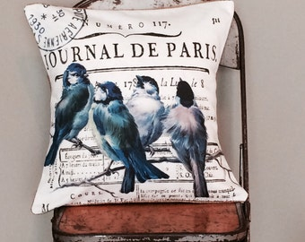 Pillow Cover French Paris Bluebird