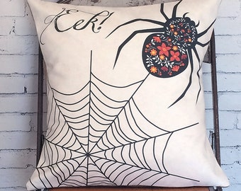 Pillow Cover Black Spider Web Halloween Spider Web Cotton and Burlap Pillow