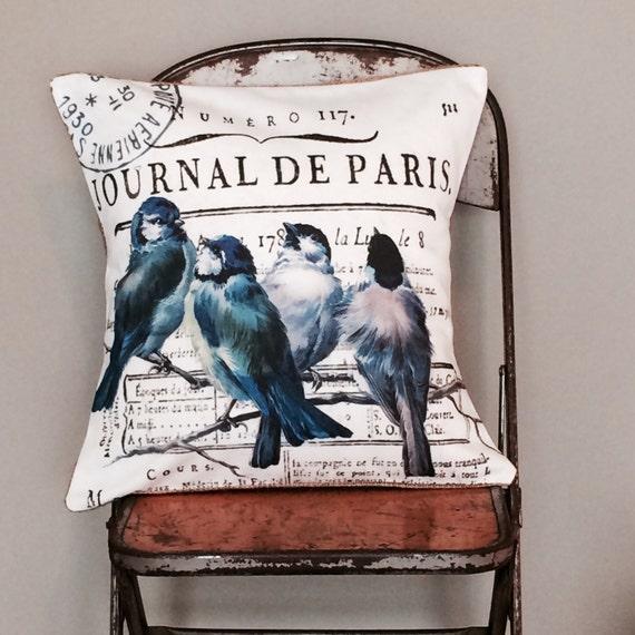 Pillow Cover French Paris Bluebird