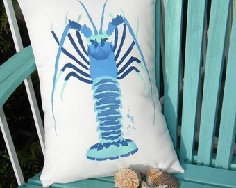 "Outdoor pillow SPINY LOBSTER blue, green or orange/pink ships tomorrow 15""x20"" lumbar ocean Rock Lobster crustacean coastal Crabby Chris"
